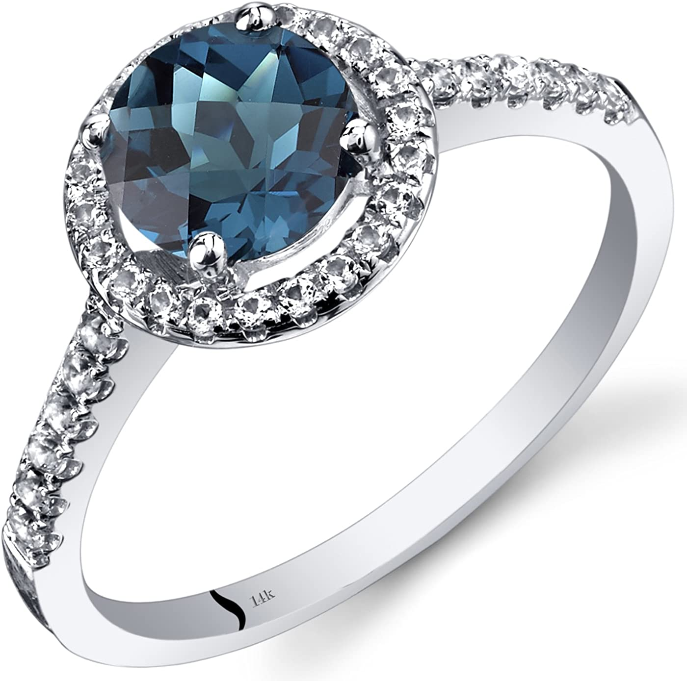 14K White Gold London Blue Fashionable Topaz Halo Checkerboard 2021 autumn and winter new Cu Ring Round