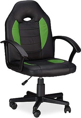 Relaxdays 10022875_53 Sedia da Gaming XR7 Girevole 360° da Gamer Altezza Regolabile per Ufficio fino a 120 kg Stile Racing Nero Verde