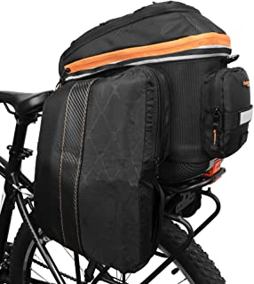 Ibera 2 in 1 PakRak Commuter Bicycle Trunk Bag with Expandable Panniers, Clip On Quick Release Design and Detachable Shoul...