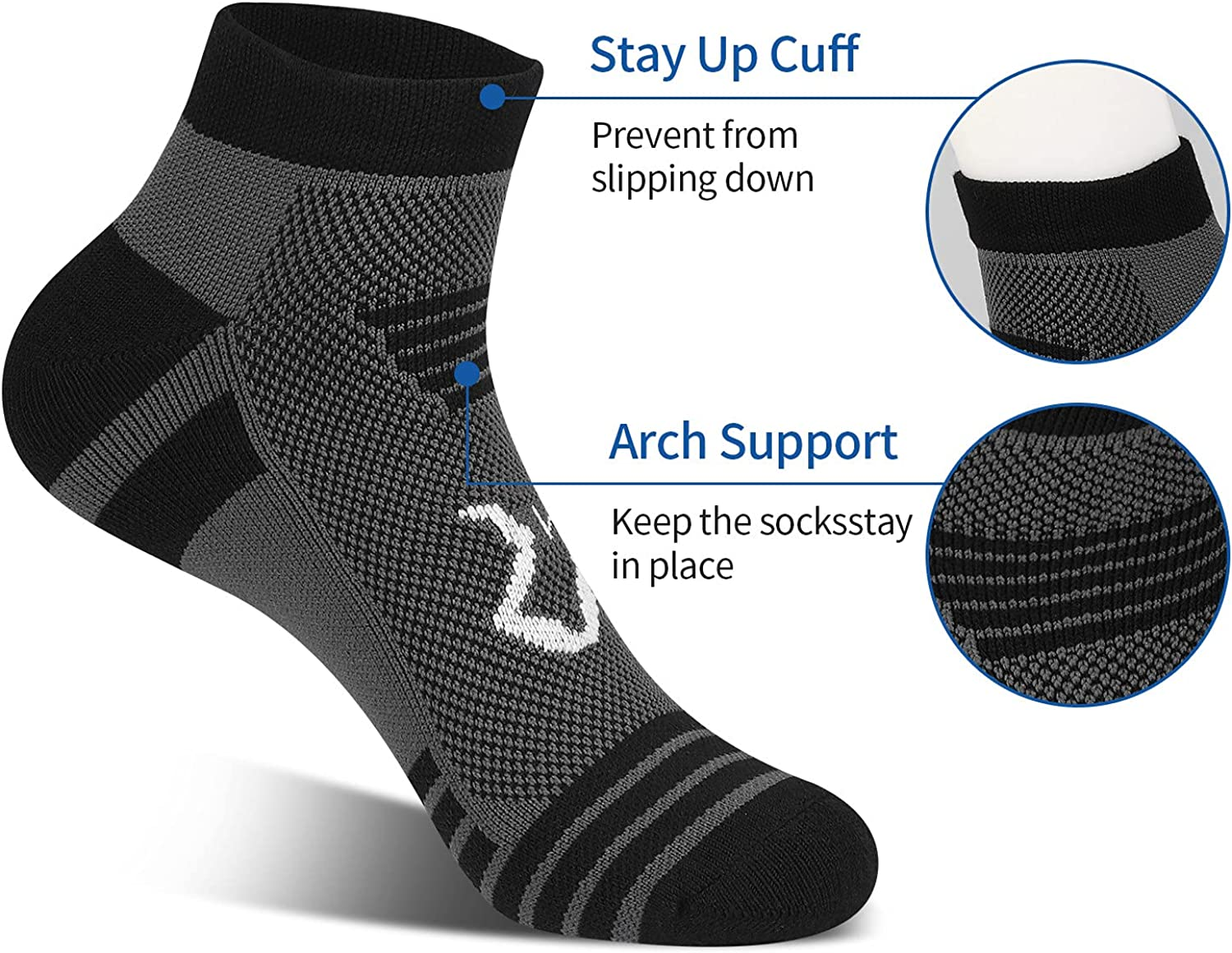 MWUS Men's Running Socks with Cushion, 6 Pack Sport Ankle Athletic Socks : Sports & Outdoors