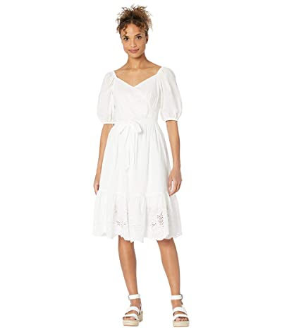 Calvin Klein Cotton Dress with Lace Bottom Detail Women
