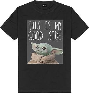 La Camiseta de Hombre Mandalorian The Child My Good Side Star Wars algodón Negro