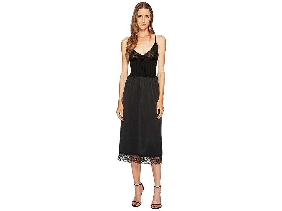 McQ Knit Lace Slip Dress (Darkest Black) Women
