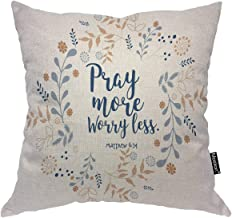 Moslion Pray More Worry Less Throw Pillow Cover Floral Wreath Bible Quote Christian Verse Faith Style 16x16 Inch Square Pillow Case Cushion Cover for Home Car Decorative Cotton Linen