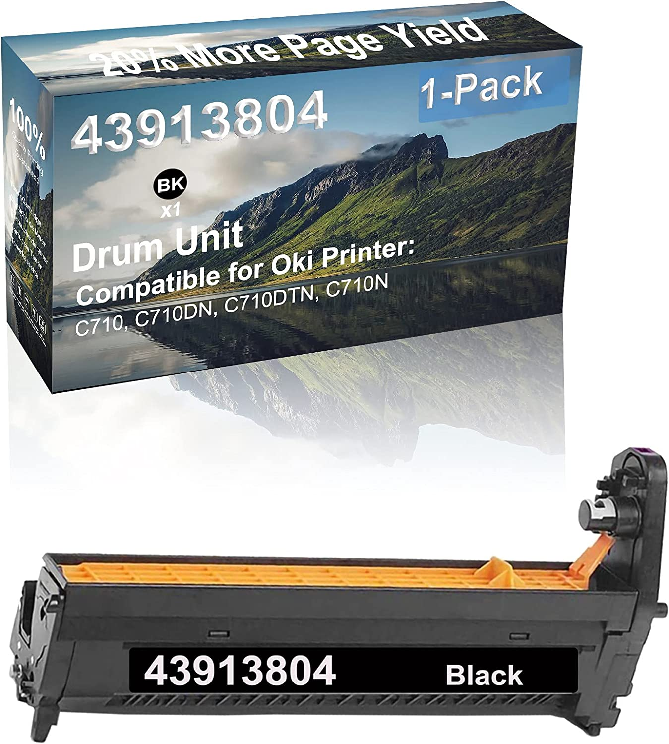 1-Pack (Black) Compatible High Capacity 43913804 Drum Unit Used for Oki C710, C710DN, C710DTN, C710N Printer