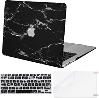 MOSISO MacBook Air 13 inch Case (A1369 & A1466, Older Version 2010-2017 Release), Plastic Pattern Hard Case&Keyboard Cover&Screen Protector Only Compatible with MacBook Air 13, Black Marble