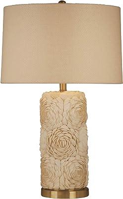 "Sagebrook Home 50424 Ceramic 26"" Rose Embossed Table Lamp, White, 29"