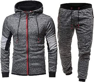 Men's Jogging Full Tracksuit Hoodies Gym Contrast Fleece Joggers Set Tracksuit Top & Bottoms Set