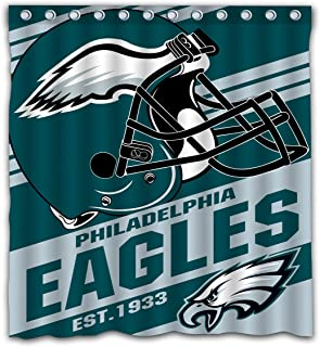 Potteroy Philadelphia Eagles Team Stripe Design Shower Curtain Waterproof Polyester Fabric 66x72 Inches