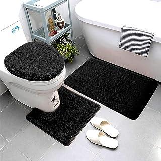 Smart Linen 3 Piece Bathroom Rug Set Includes Bath Rug, Contour Mat and Toilet Lid Cover, Machine Washable, Super Soft Mic...