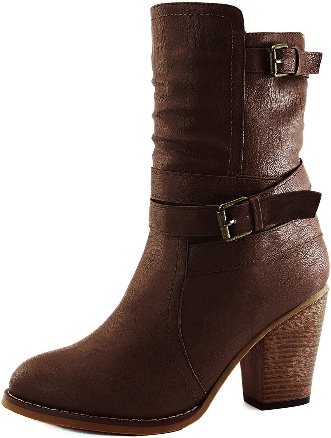 Dailyshoes Women's Western Cowboy Strappy Buckle Chunky Ankle High Heel Boot