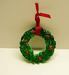 Christmas Holly Wreath Recycled Green Bottle Glass Christmas Ornament