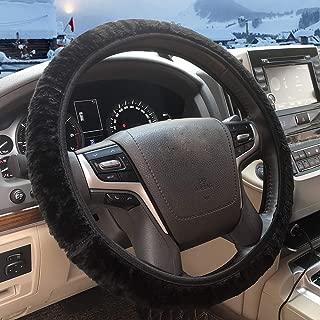 ZHOL Universal 15 inch Steering Wheel Cover Elastic Plush, Keep Warm, Breathable, Anti-Slip, Odorless, Black