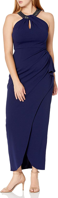 Alex Evenings Women's Long Crepe Dress with Embellished Halter Neckline