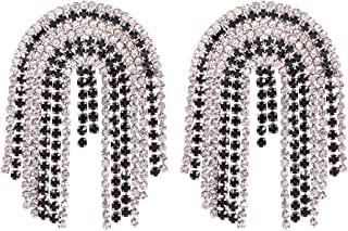 Solememo Glamours Colorful Simulated Diamond Long Fringe Tassel Crystal Stud Waterfall Statement Drop Earring for Women