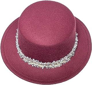 Jixin4you Women Men Wide Brim Wool Felt Flat Top Hat Church Derby Cap Bowler Jazz Cosplay w/Pearl Band