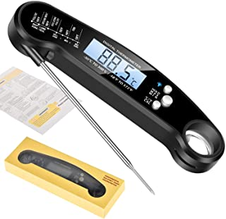 Waterproof Digital Instant Read Meat Thermometer Folding Probe Calibration Function for Cooking Food Candy, BBQ Grill, Cal...