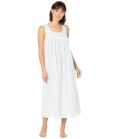 Eileen West Cotton Woven Lawn Sleeveless Ballet Nightgown (White Ground/Bluebell Ditsy) Women