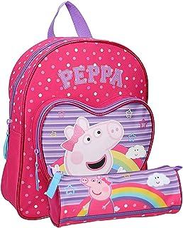 Sac à Dos pour enfant Peppa Pig - Pour maternelle - Garderie - 31 X 25 X 9 cm - Fille + Trousse