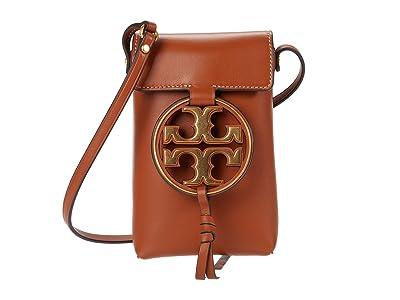 Tory Burch Miller Metal Phone Crossbody (Aged Camello) Handbags