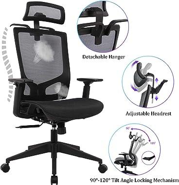 Statesville Ergonomic Mesh Office Chair - High Back Adjustable Backrest Armrest Headrest Computer Desk Chair with Coat Hanger, Black