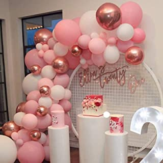 Soonlyn Rose Gold Balloons Latex Balloons 100 Pcs 12 Inch Pink White Party Balloons Garland for Baby Shower Bridal Shower ...