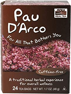 NOW Foods, Pau D'Arco Tea, A Traditional Herbal Experience, Overall Wellness, Premium Unbleached Tea Bags with No-Staples ...