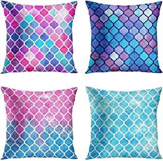Britimes Mermaid Throw Pillow Covers 18x18 Home Decor for Girls Room Set of 4 Polyester Decorative Turquoise Pillow Cases ...