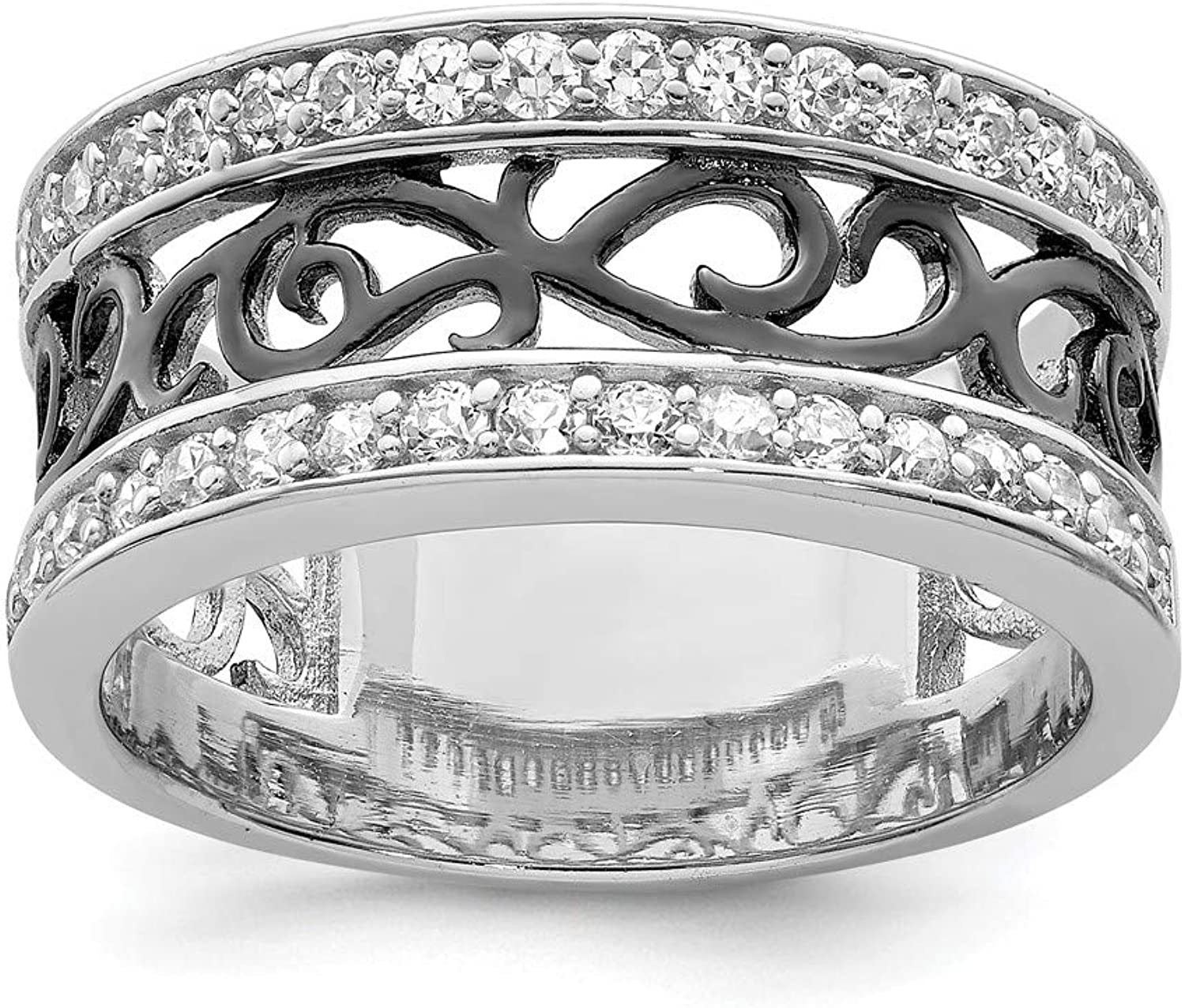 Beautiful Sterling silver 925 sterling Sterling Silver CZ Black Filigree Design Ring