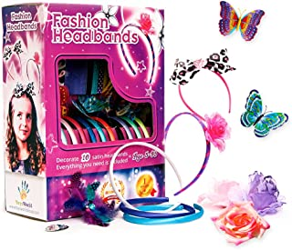 Fashion Headbands for Girls - 60 Pcs DIY Satin Women Girl Jewelry Making Kit - Hair Accessories Flowers Rhinestones Roses Butterfly Arts Crafts for Girls - Make Your Own Headbands