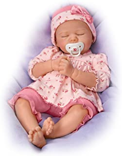 The Ashton-Drake Galleries Pleasant Dreams, Penelope TrueTouch Silicone with Hand-Rooted Hair - Lifelike, Realistic Newborn Baby Doll 18-inches