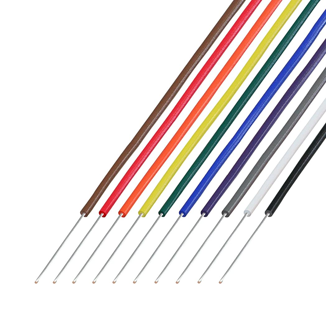 追放するチーム考古学協和ハーモネット 耐熱通信機器用ビニル電線 茶赤橙黄緑青紫灰白黒 各2m H-PVC 0.65mm 2m <10>