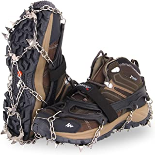 JSHANMEI 19 Spikes Crampons Ice Snow Grips Traction Cleats Stainless Steel Spikes Safe Protect Walking Jogging Hiking on Snow Ice Mud Wet Grass