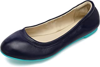 Women's Ballet Flats Leather Lambskin Loafers Classic Round Toe Casual Ladies Flat Shoes for Women