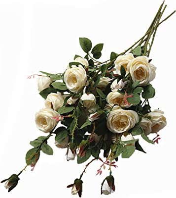 Hihome Artificial Flowers, 6 Heads Cream White Rose Champagne Rose 6 Pack (Cream White)