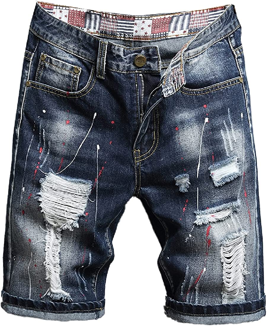 Cromoncent Men's Casual Straight Fit Short Jeans Distressed Ripped Holes Denim Shorts