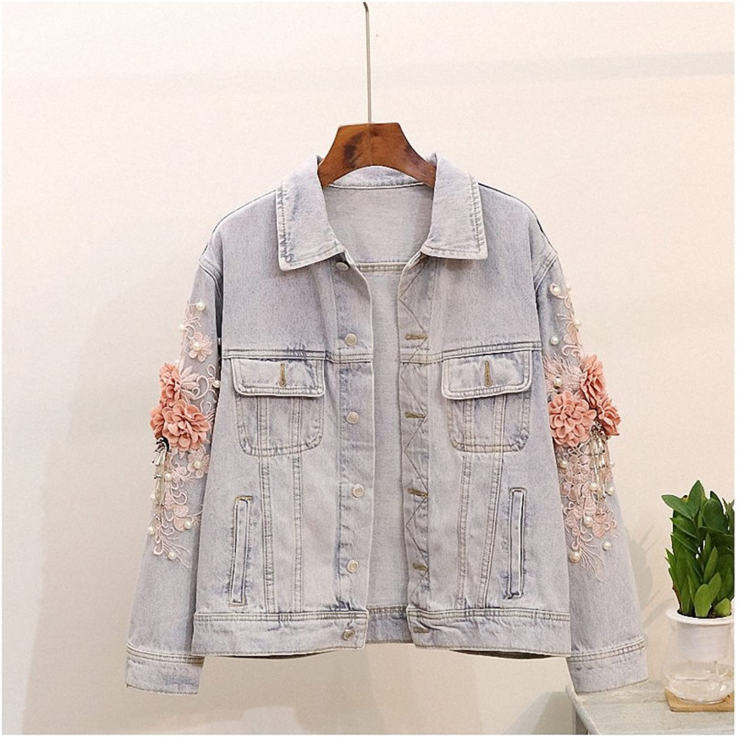 Hiuwa Womens Denim Jacket Vintage Beading Embroidery Flower Casual Outwear