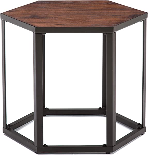 NOBPEINT 22 Inch Side End Table Night Stand Coffee Table Wood Look Accent Furniture With Metal Frame Brown