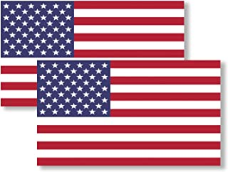 2 Pack Best See-Thru One Way Vision USA American Flag Vinyl Decal Army Navy Tactical Military Country Weather-Resistant Bumper Stickers for Any Vehicle, Car, Truck, RV, Bicycle, Scooter, SUV (3