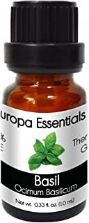 Europa Essentials 100% PURE Therapeutic Grade Essential Oils, 31 Aromatherapy Scents Collection – Basil, 10ml