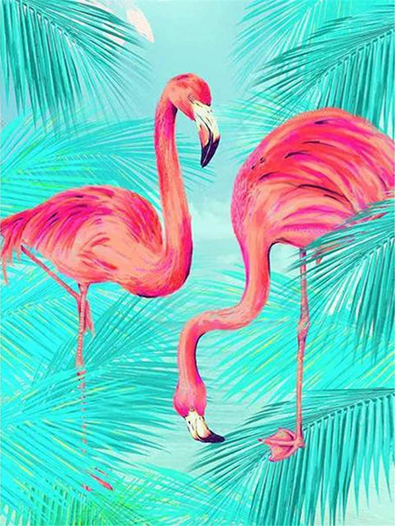 Paint by Number Kits - Flamingos 16x20 Inch Linen Canvas Paintworks - Digital Oil Painting Canvas Kits for Adults Children Kids Decorations Gifts (No Frame)