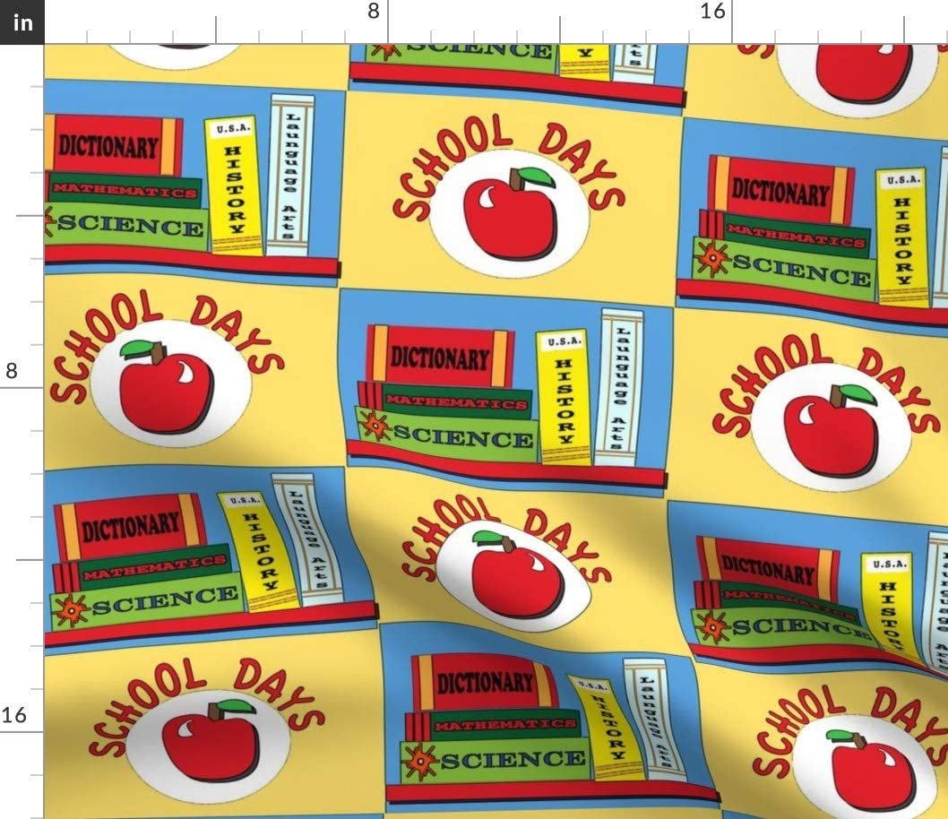 Spoonflower Fabric - Soldering School Books Apples Popular product Teac Learning Education