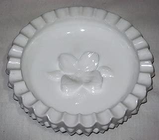 Vintage Fenton Milk Glass Hobnail Ashtray w/ Dogwood Flower, 6 1/2 Inch