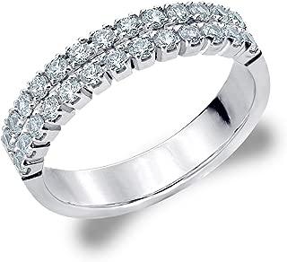 Genuine 2 Row Diamond Ring for Women.50cttw in 10K Gold, Double Row Diamond Wedding Band
