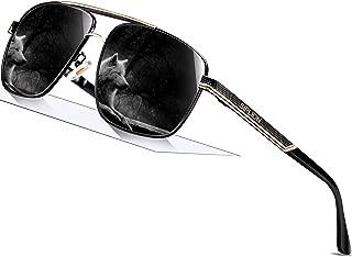 SPLION Men's Sunglasses UV400 Protection Polarised Sunglasses Driver's Glasses Rectangular Metal Frame