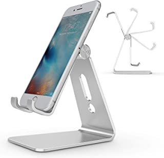 OMOTON Adjustable Cell Phone Stand, Aluminum Desktop Cellphone Stand with Anti-Slip Base and Convenient Charging Port, Fits Mobile Phones (All Sizes), Silver