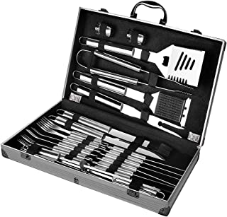 BBQ Grilling Tool Set Professional Barbecue Extra Strong Stainless Steel Utensils with Aluminum Storage Case-Barbecue Kit ...