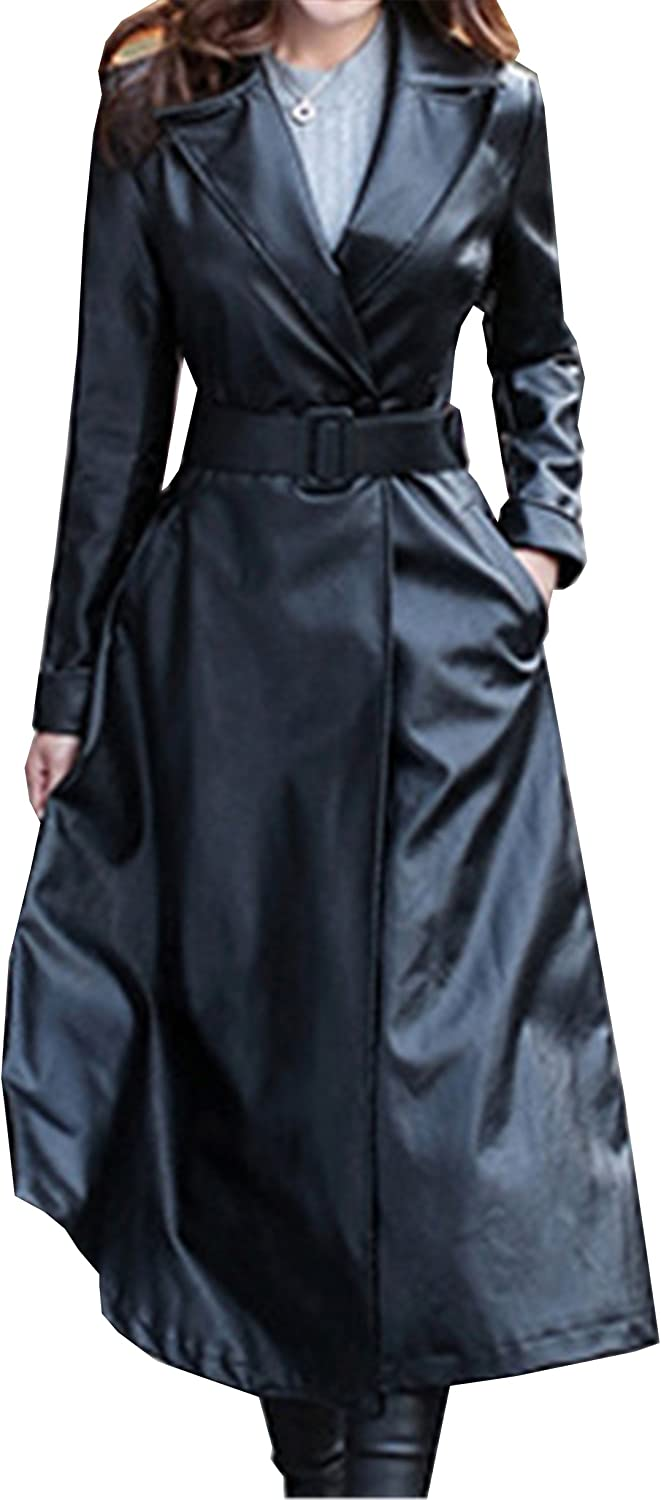 Allonly Women's PU Leather Velvet Lining Lapel Trench Coat Overcoat with Belt