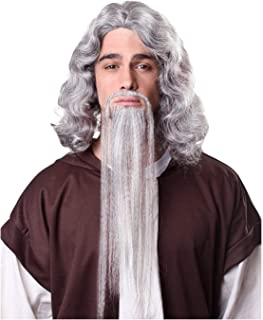 Men's Fu Manchu Beard and Adhesive Costume Accessory (White)