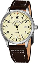Muhle Glashutte Terrasport II Mens Automatic Pilot Watch - 40mm Cream Face with Luminous Hands and Sapphire Crystal - Brown Leather Band Precision Watch Made in Germany M1-37-47 LB